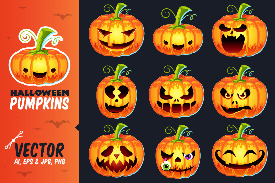 Halloween Pumpkins - Vector Set example image 1
