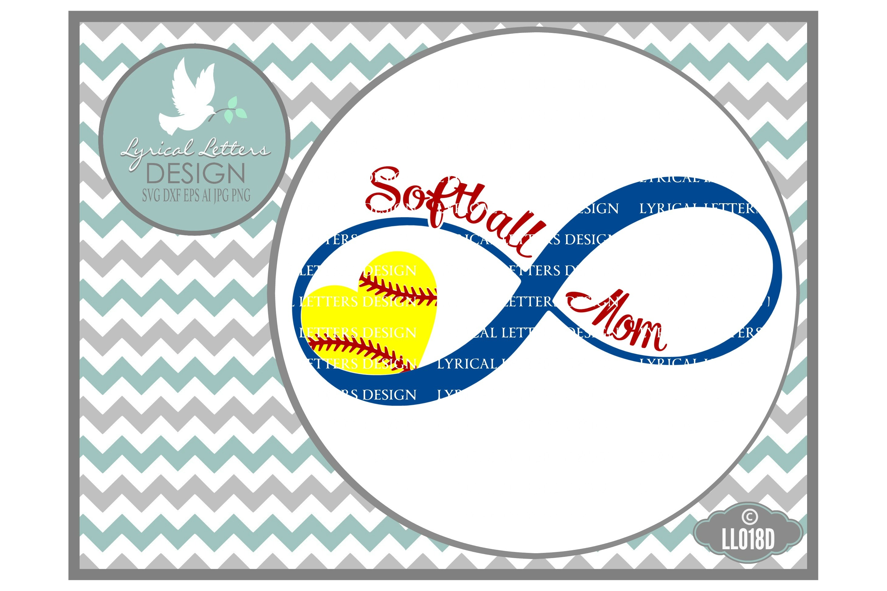 Softball Mom Infinity Sports Cutting File LL018D  SVG DXF EPS AI JPG PNG example image 1