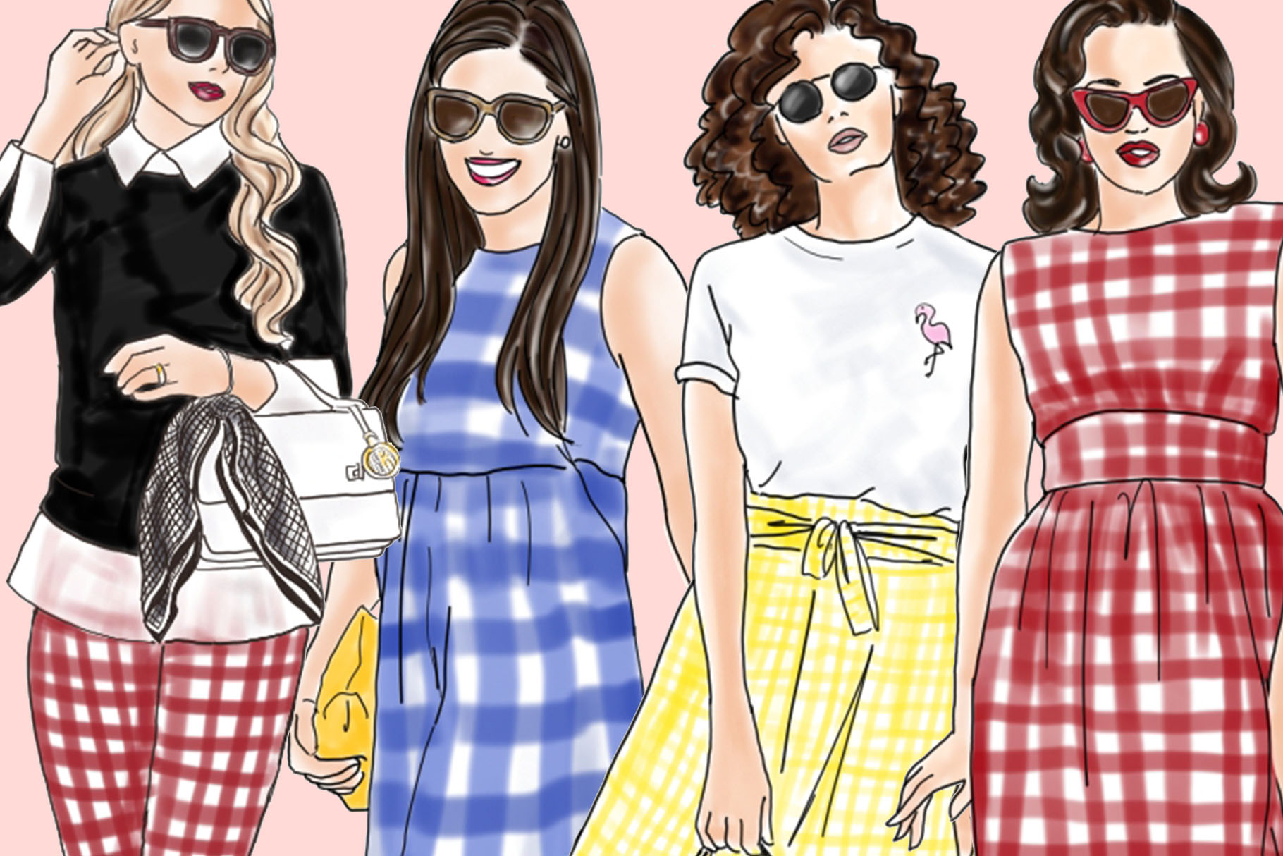 Fashion illustration clipart - Girls in Gingham - Light Skin example image 3