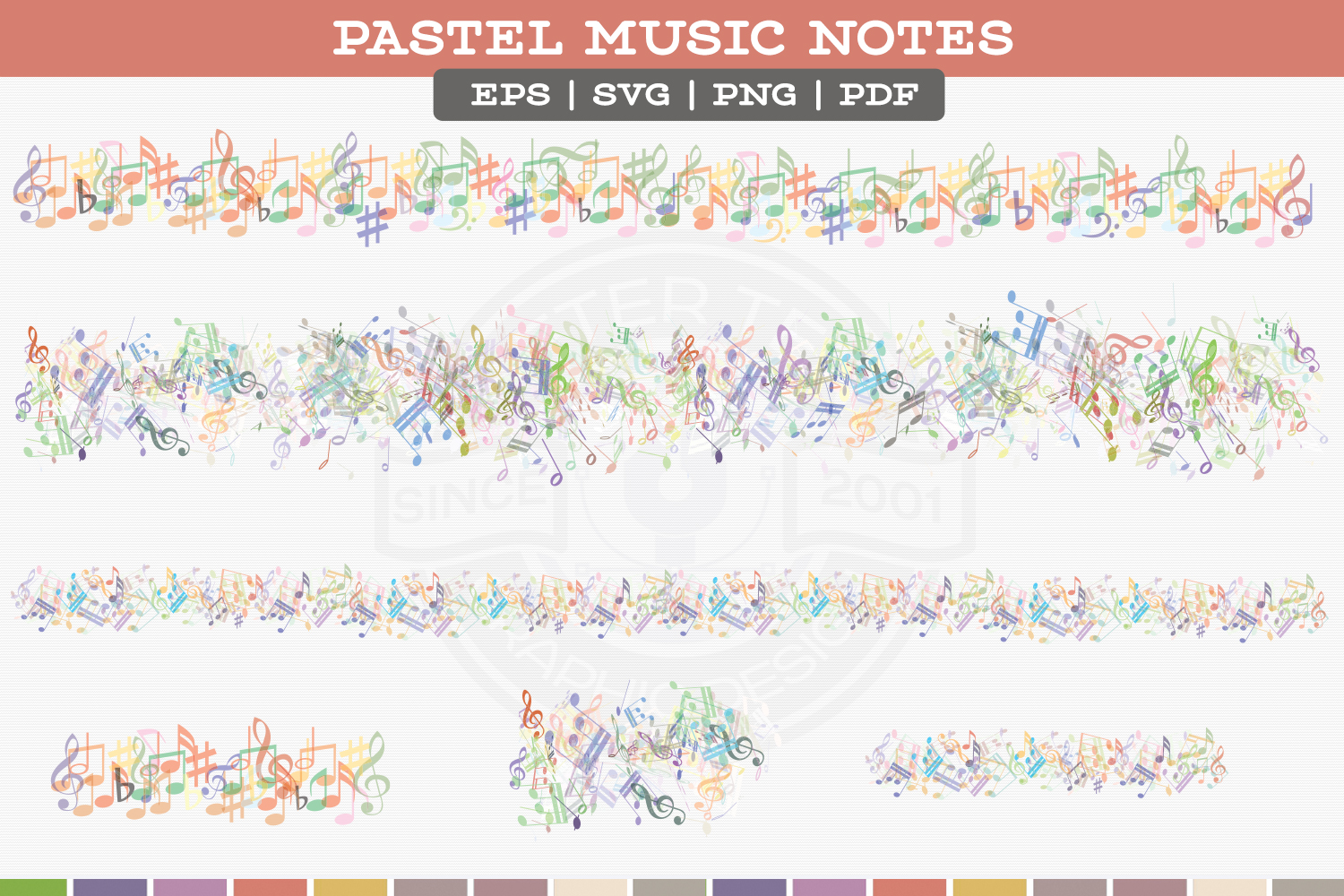 Pastel Music Notes example image 4