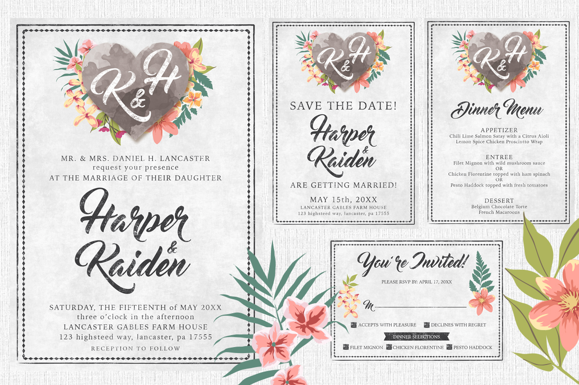 Massive Wedding Invite Bundle Flyer Save the Date Bridal Shower Party 60% Off example image 11
