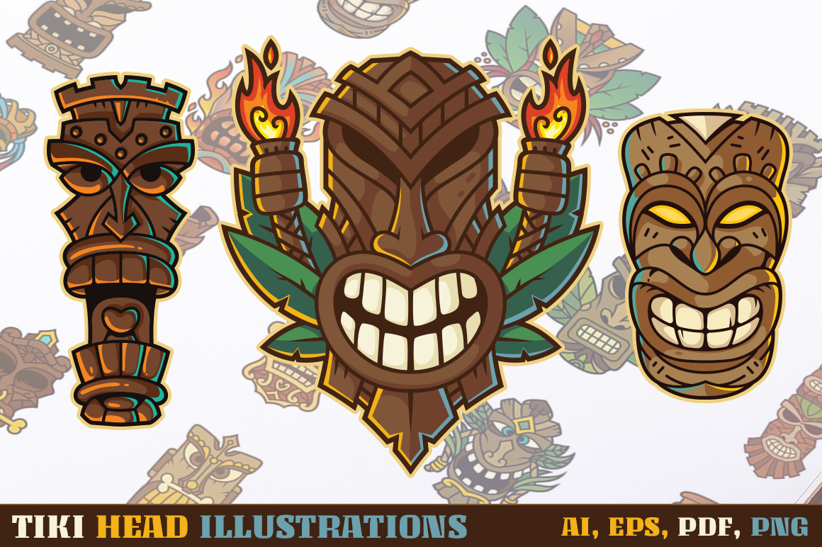 Tiki Head Illustrations Set example image 1