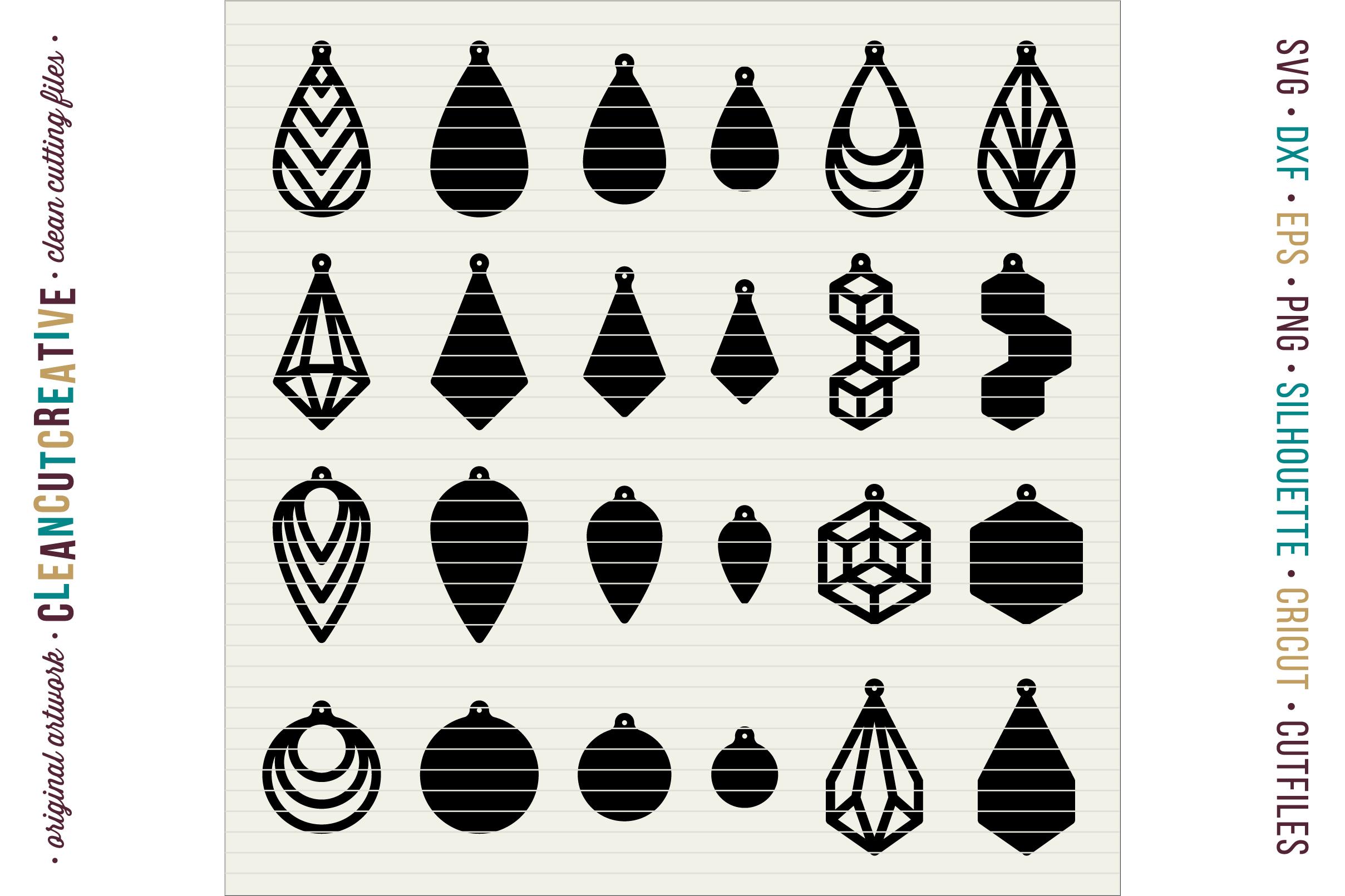 Download Set of 24 Faux Leather Earrings - SVG D | Design Bundles