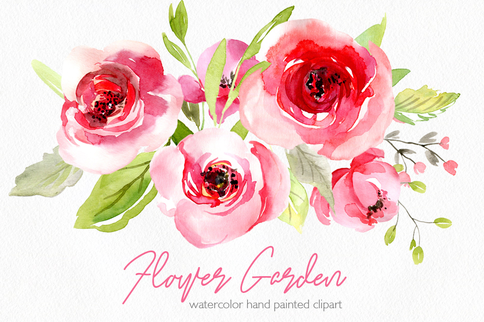 Watercolor pink roses flowers leaves pn design bundles watercolor pink roses flowers leaves png example image 1 mightylinksfo Image collections