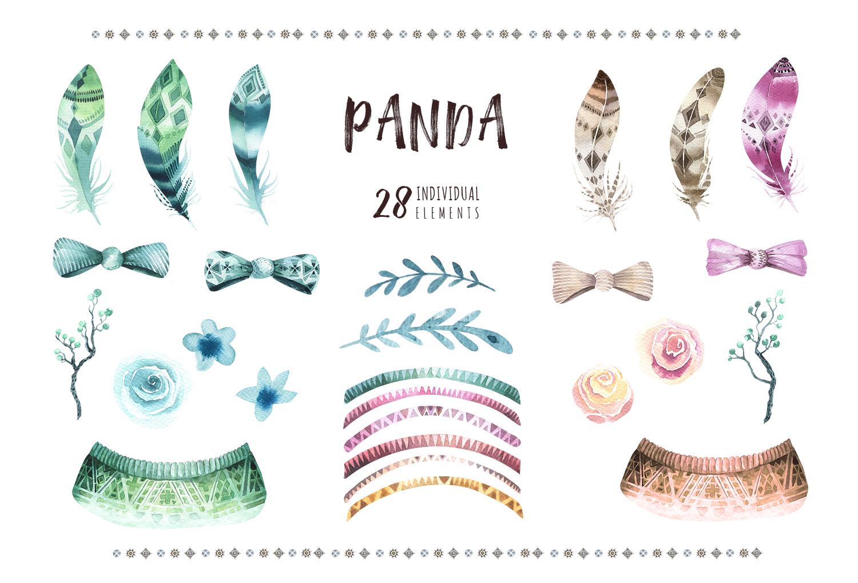 Watercolor panda illustration. Bohemian cute animals.  example image 6