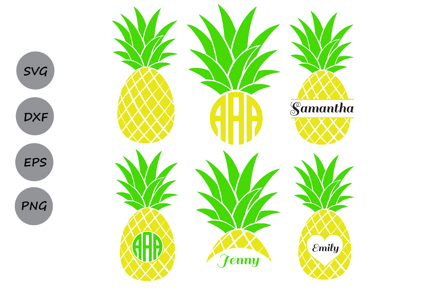 Pineapple Svg Pineapple Monogram Frame Design Bundles