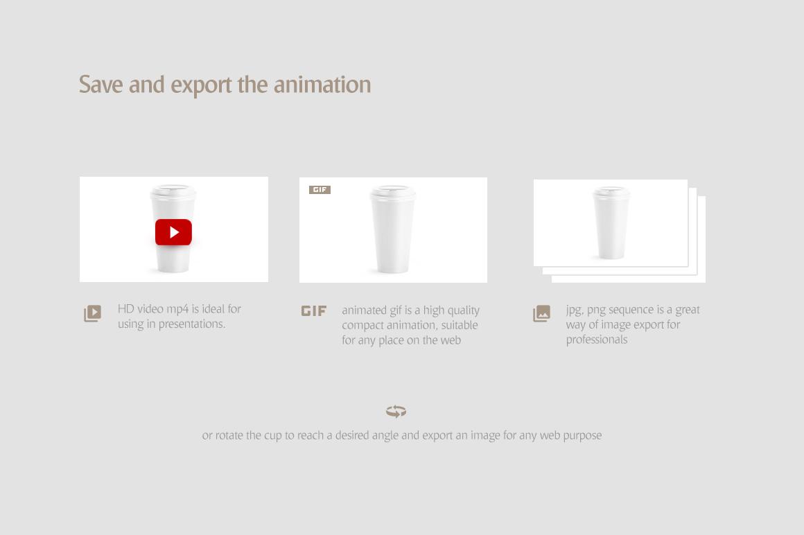 Coffee Cup Animated Mockups Bundle (Coffe mug mock up, cofee cup mockup, tea take away cup mock-up) example image 9