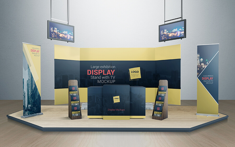 Exhibition Stand Mockup Free Download : Various tradeshow exhibition booth mock design bundles