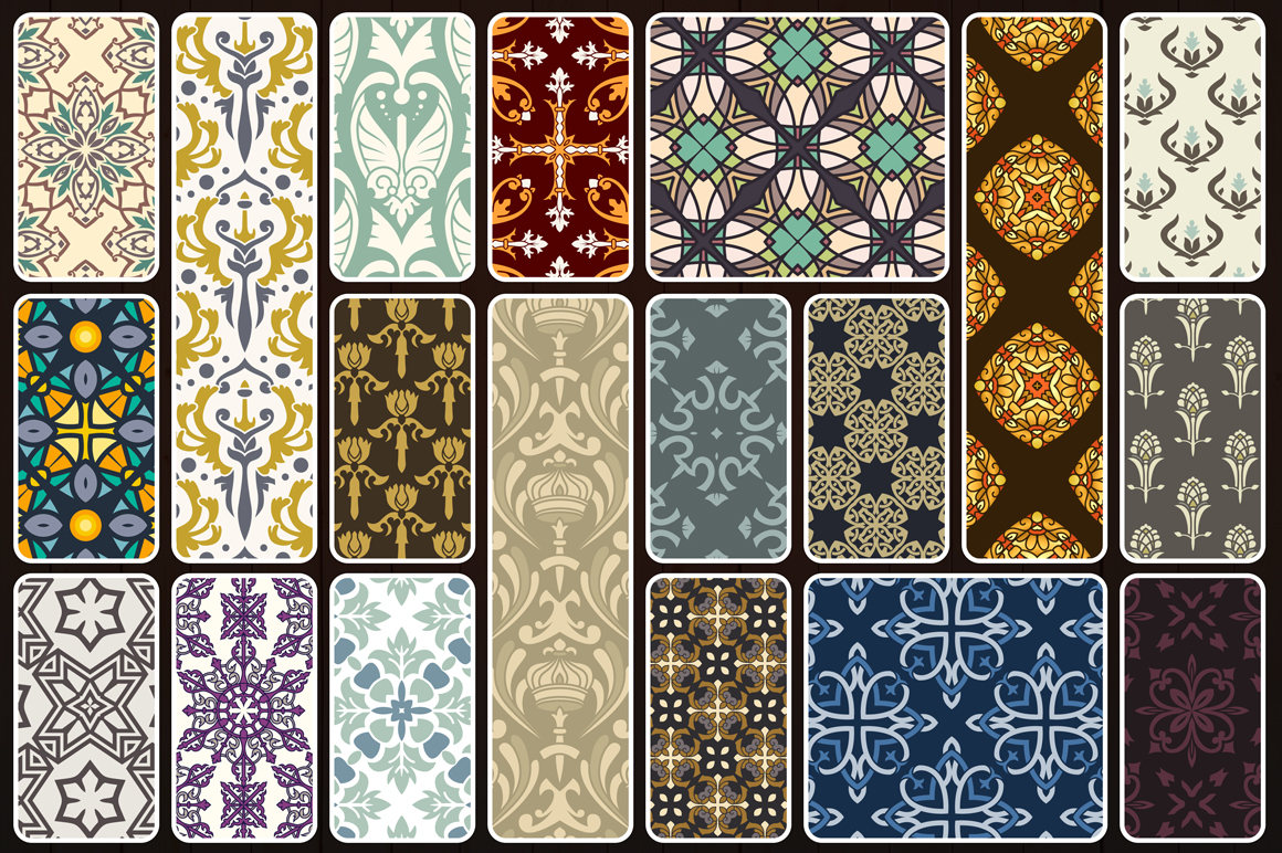 123 Vintage Seamless Vector Patterns example image 9