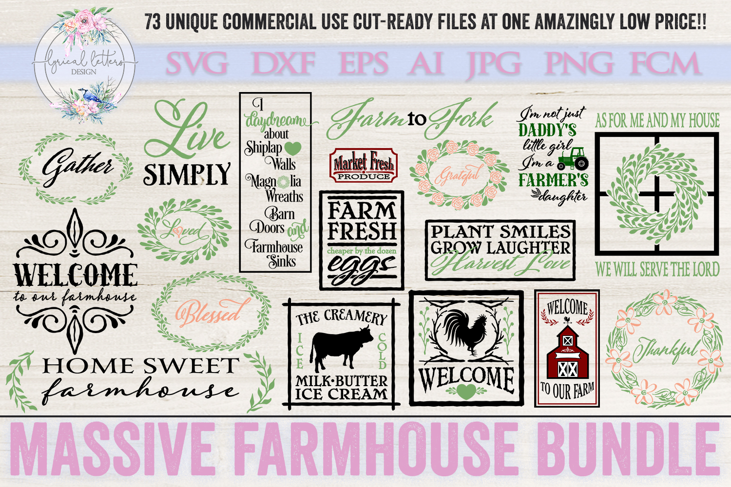 Farmhouse Bundle of 73 SVG DXF FCM AI EPS JPG and PNG Files example image 3
