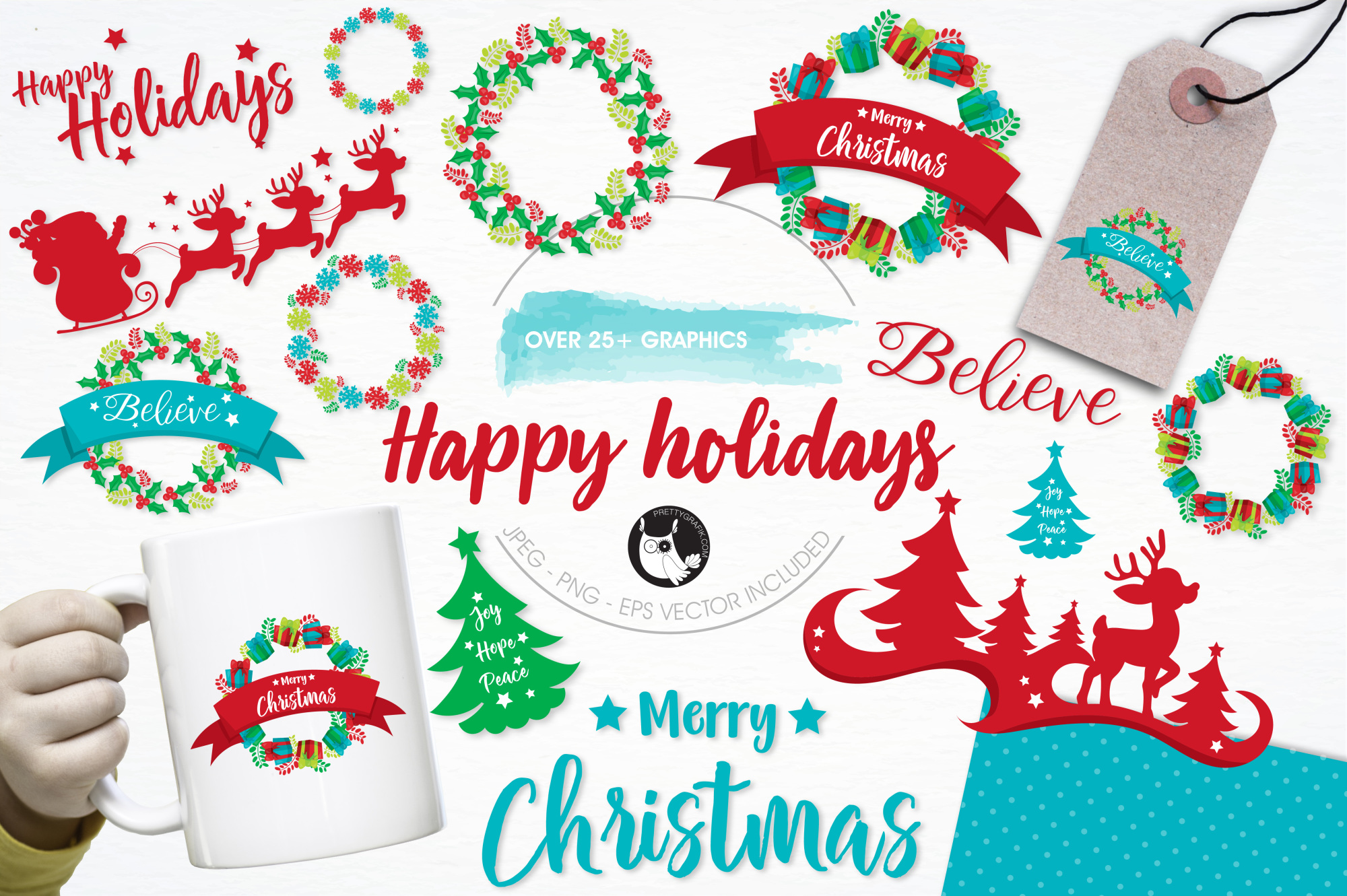 Happy Holidays  graphics and illustrations example image 1