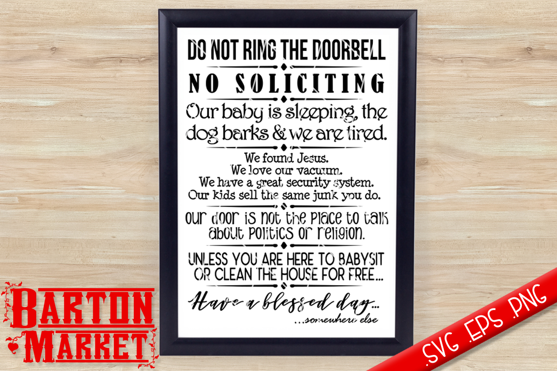 Do Not Ring The Doorbell SVG / EPS / PNG example image 1