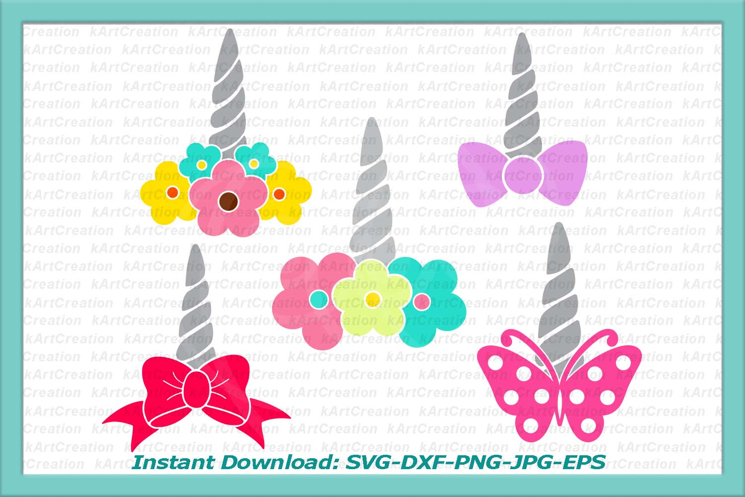 unicorn horn svg, unicorn svg, unicorn face svg, unicorn svg file, unicorn with flowers svg, unicorn horn iron on, bow svg, butterfly svg example image 1