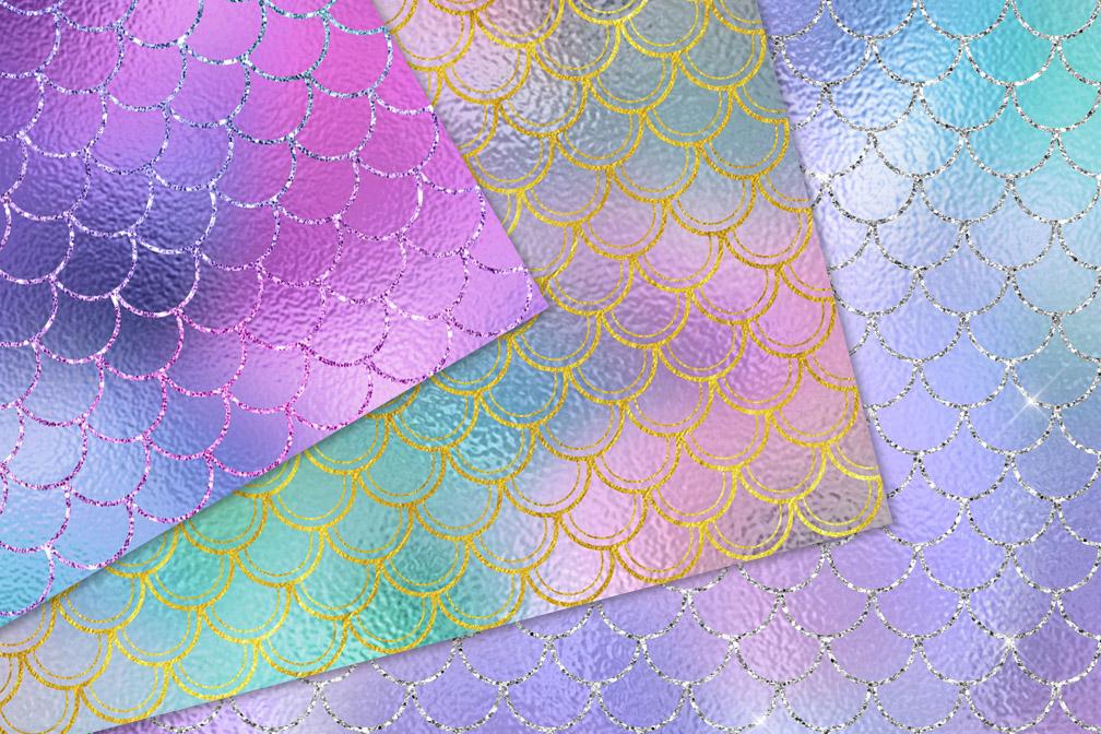 Sparkling Mermaid Digital Paper example image 2