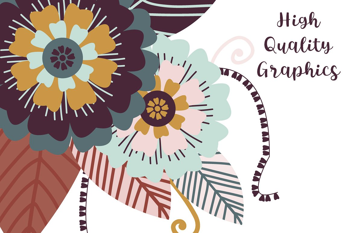 Butterfly, Flowers & Wreath Clipart Vector example image 2