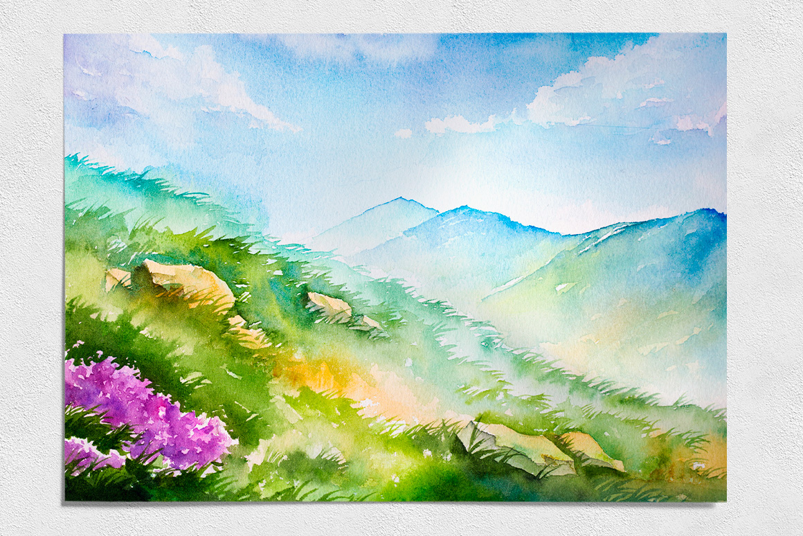 spring landscapes  watercolor  by alexg