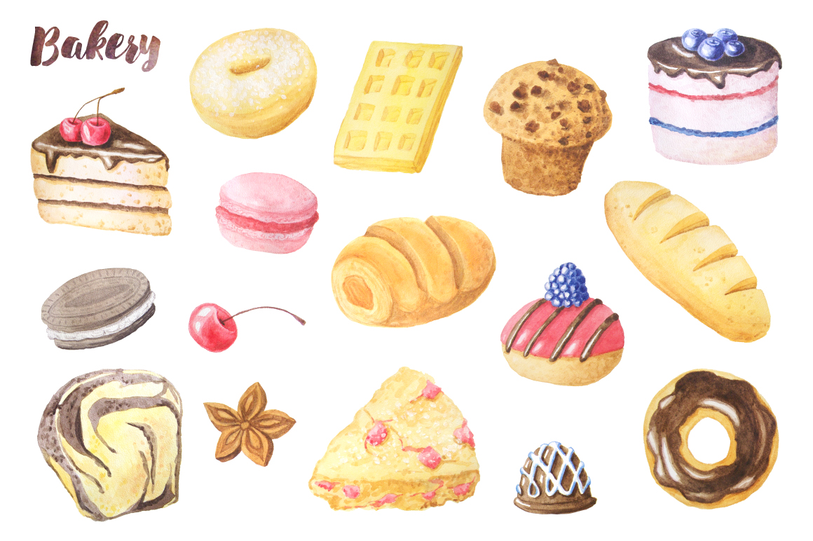 Watercolor Bakery Set example image 2