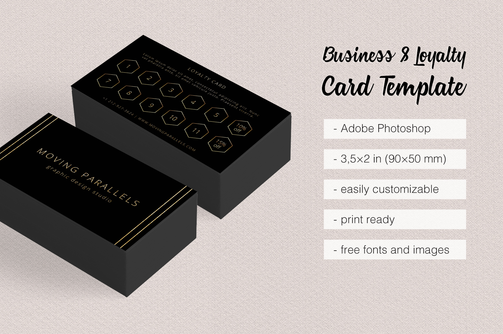 Black Gold Business & Loyalty Cards by | Design Bundles