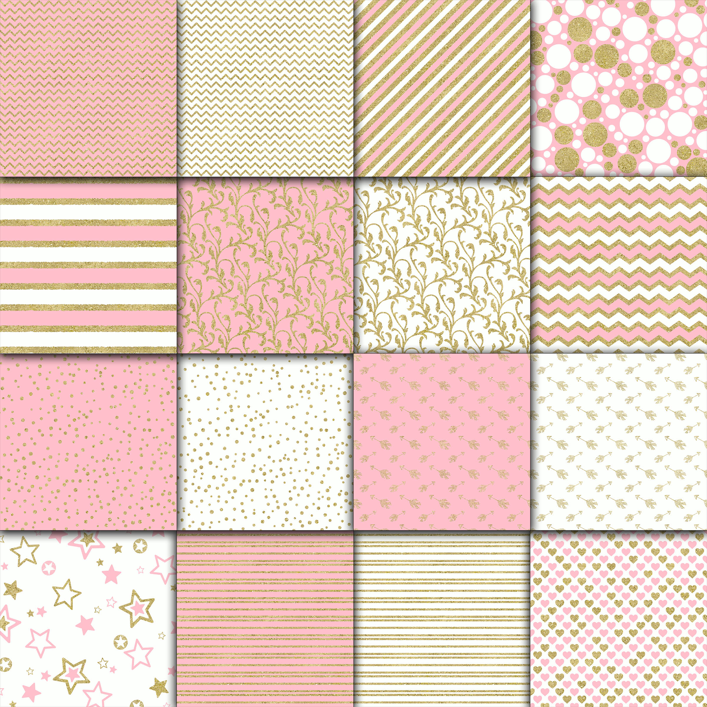 Pink and Gold Digital Paper example image 2