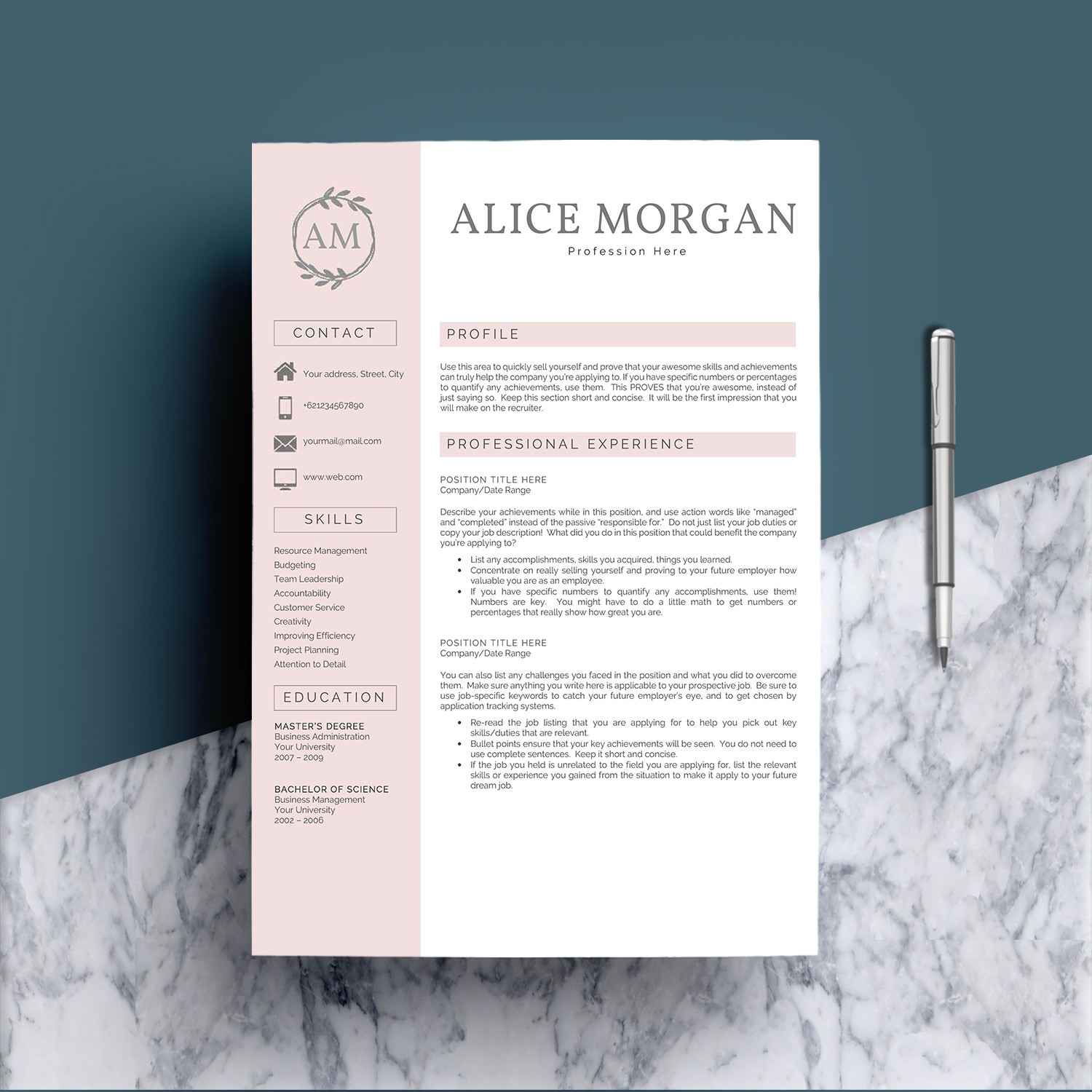 Professional Creative Resume Template - Alice Morgan example image 2