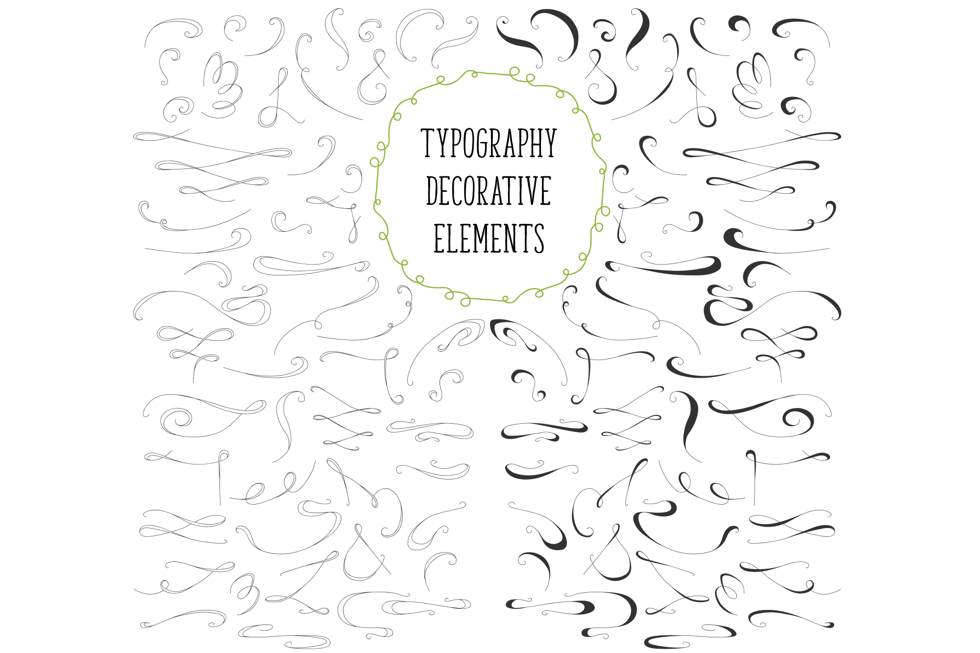 450 handsketched elements. Nature mega pack example image 15