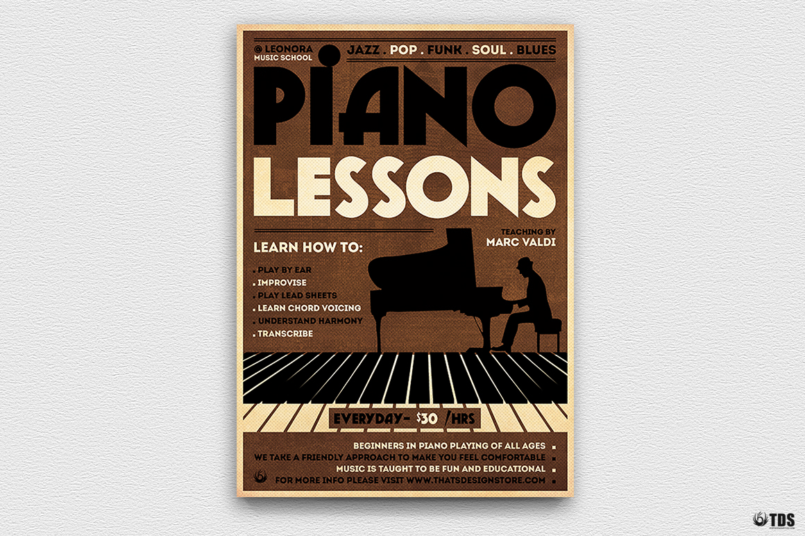 Piano Lessons Flyer Template by TDStore   Design Bundles
