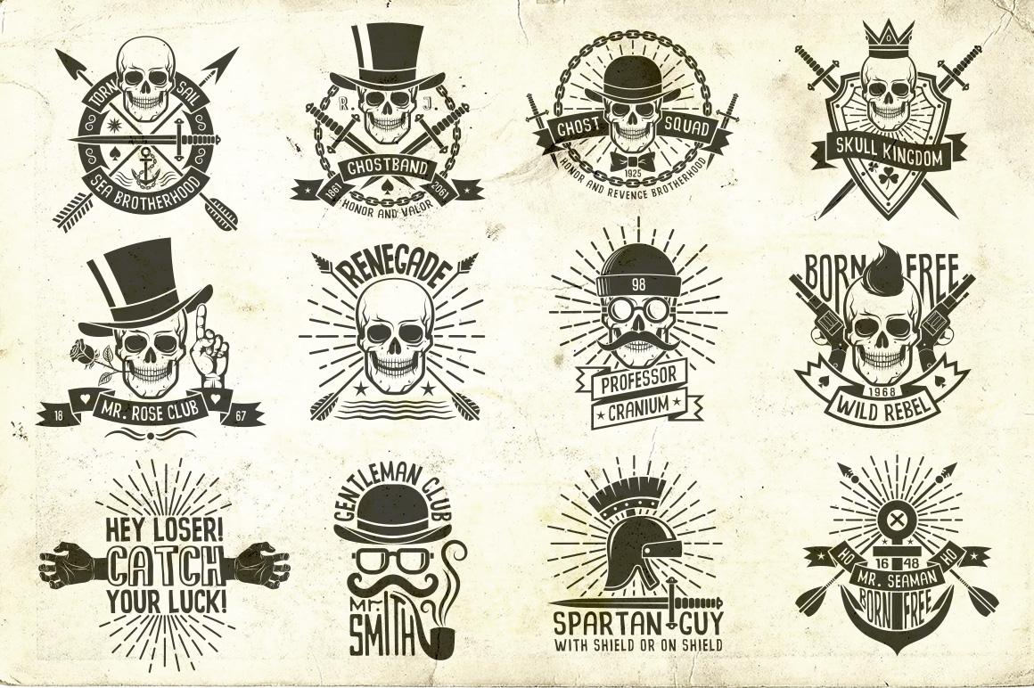 Hipster Skull Design Bundle example image 3