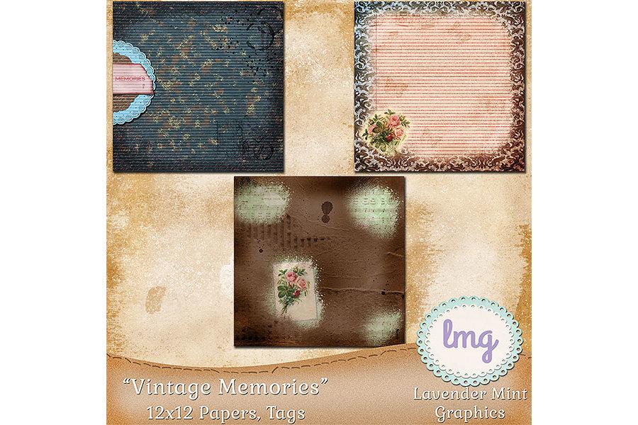 Vintage Memories Digital Scrapbook Papers example image 3