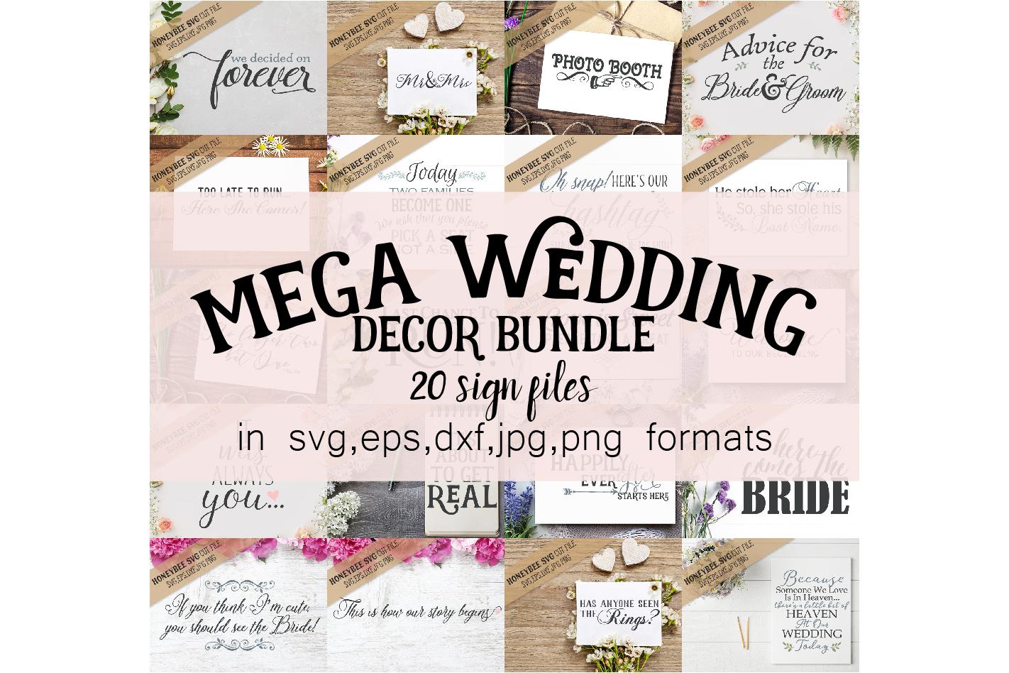 Mega Wedding Decor Bundle svg example image 1