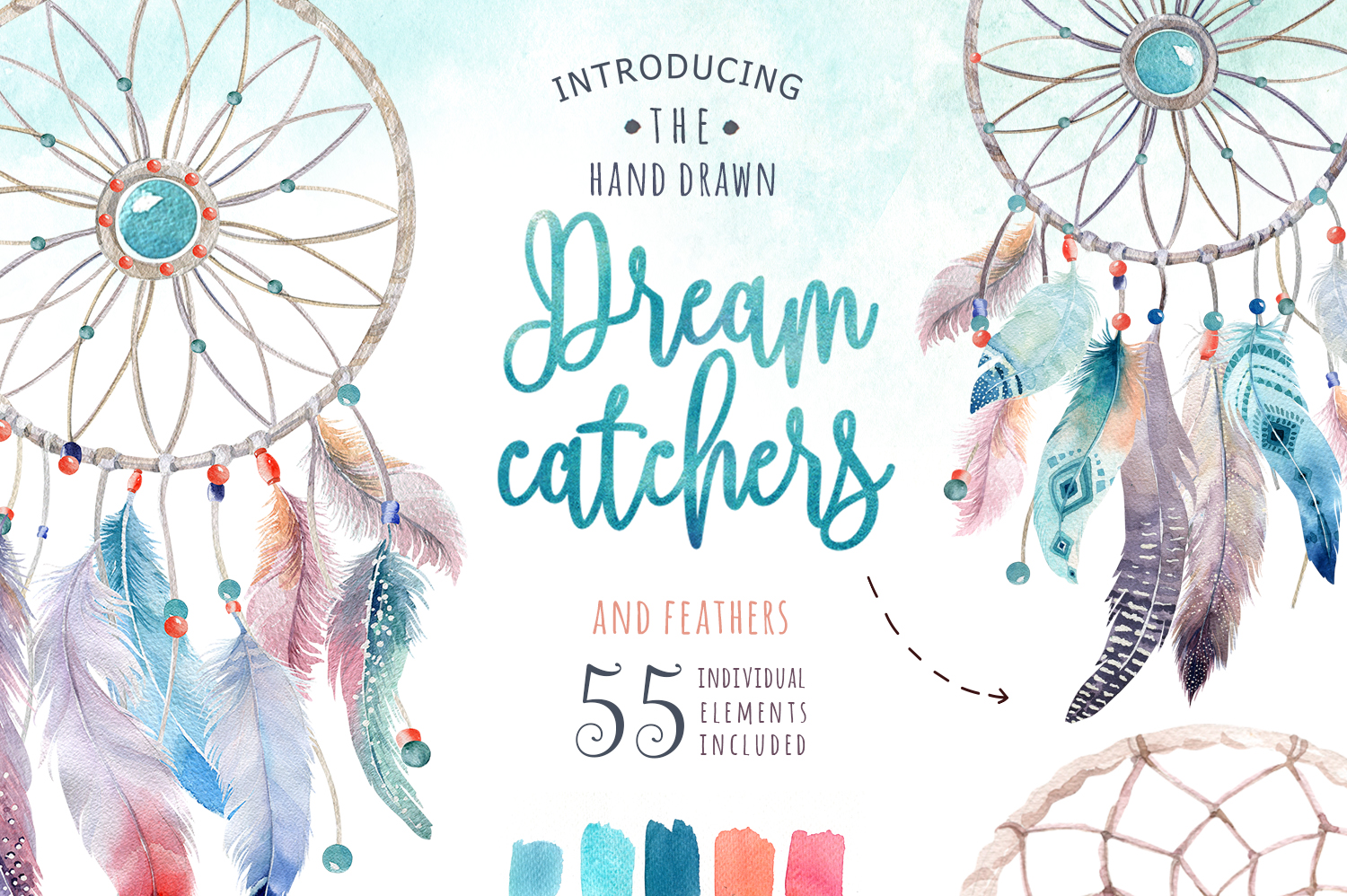 30% off Watercolor dreamcatcher III example image 1