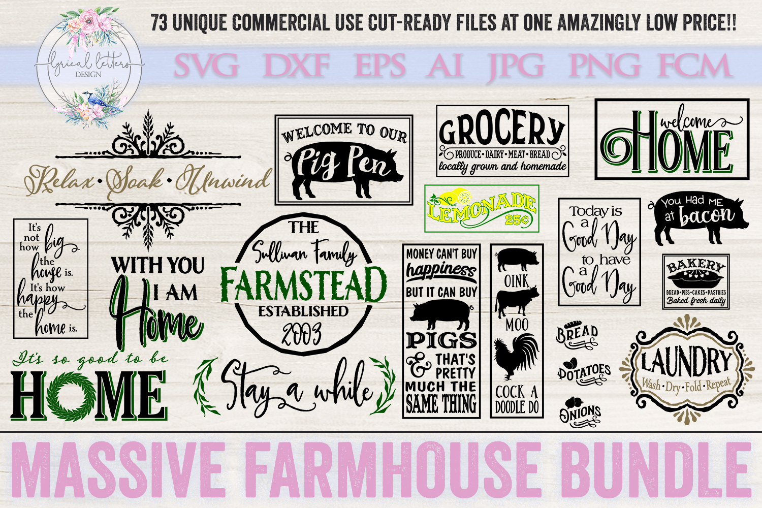 Farmhouse Bundle of 73 SVG DXF FCM AI EPS JPG and PNG Files example image 5