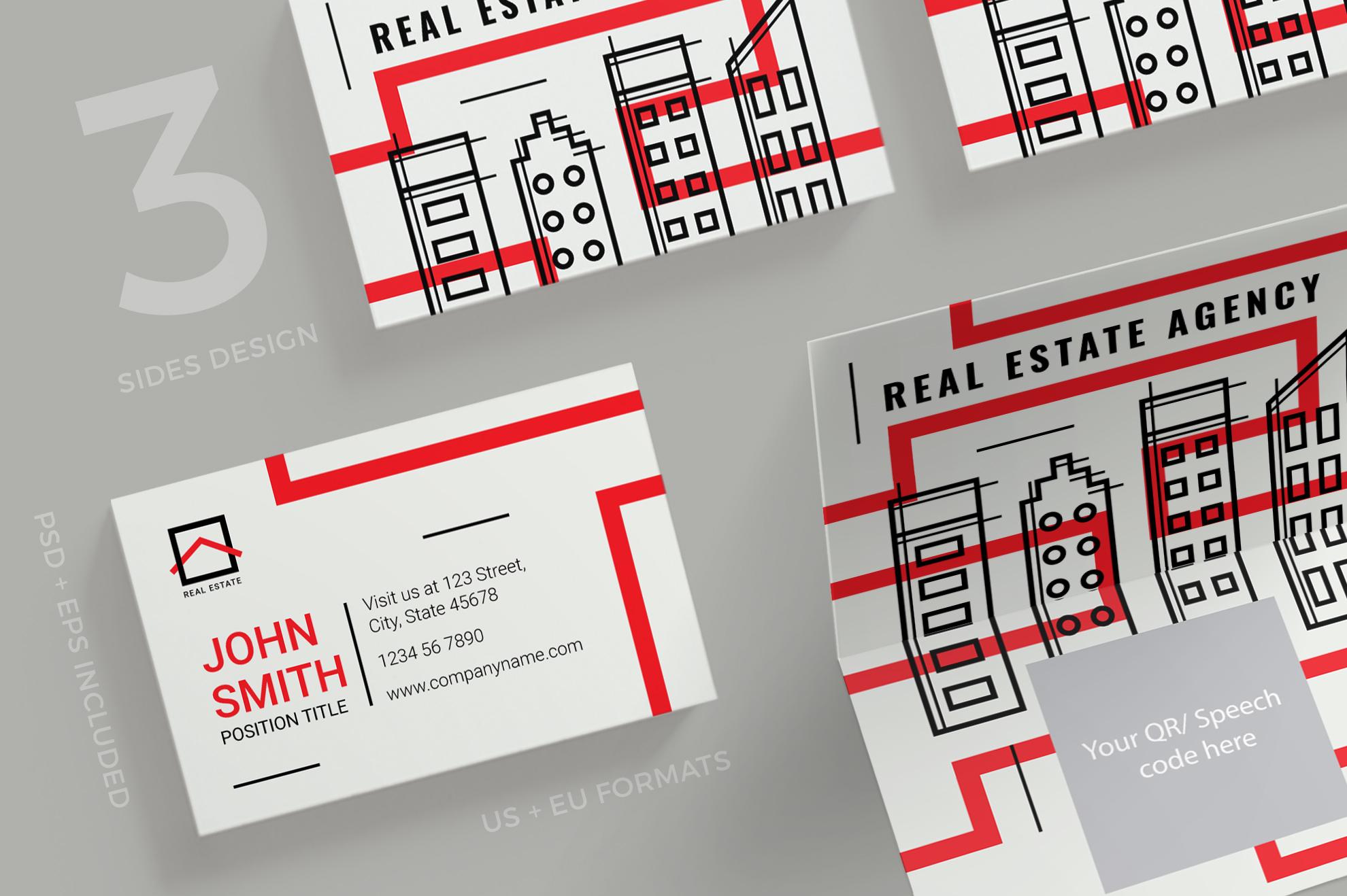Real Estate Agency Business Card Design   Design Bundles