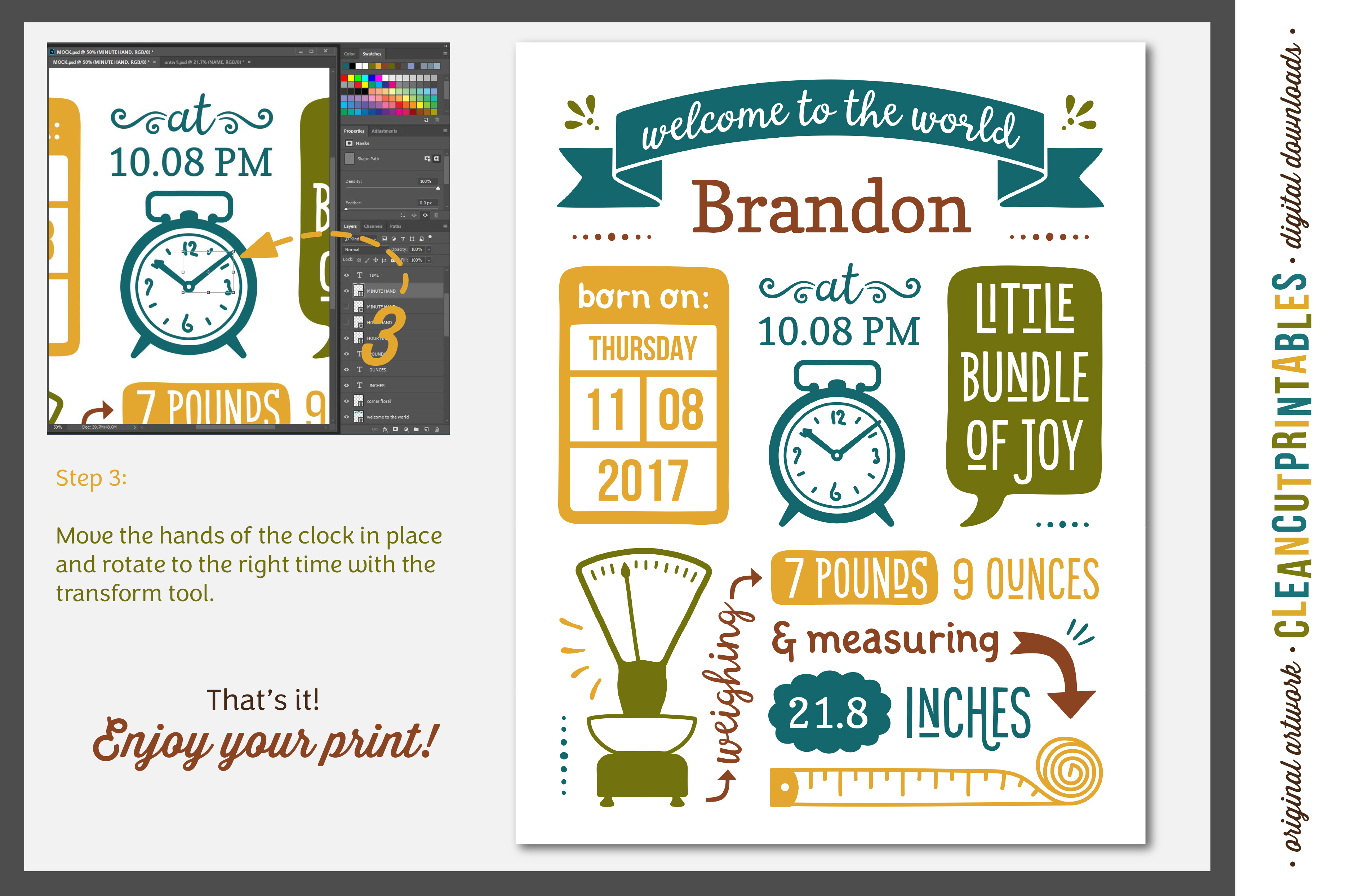 BIRTH STATS TEMPLATE - Photoshop Edition - Baby Birth Announcement example image 4