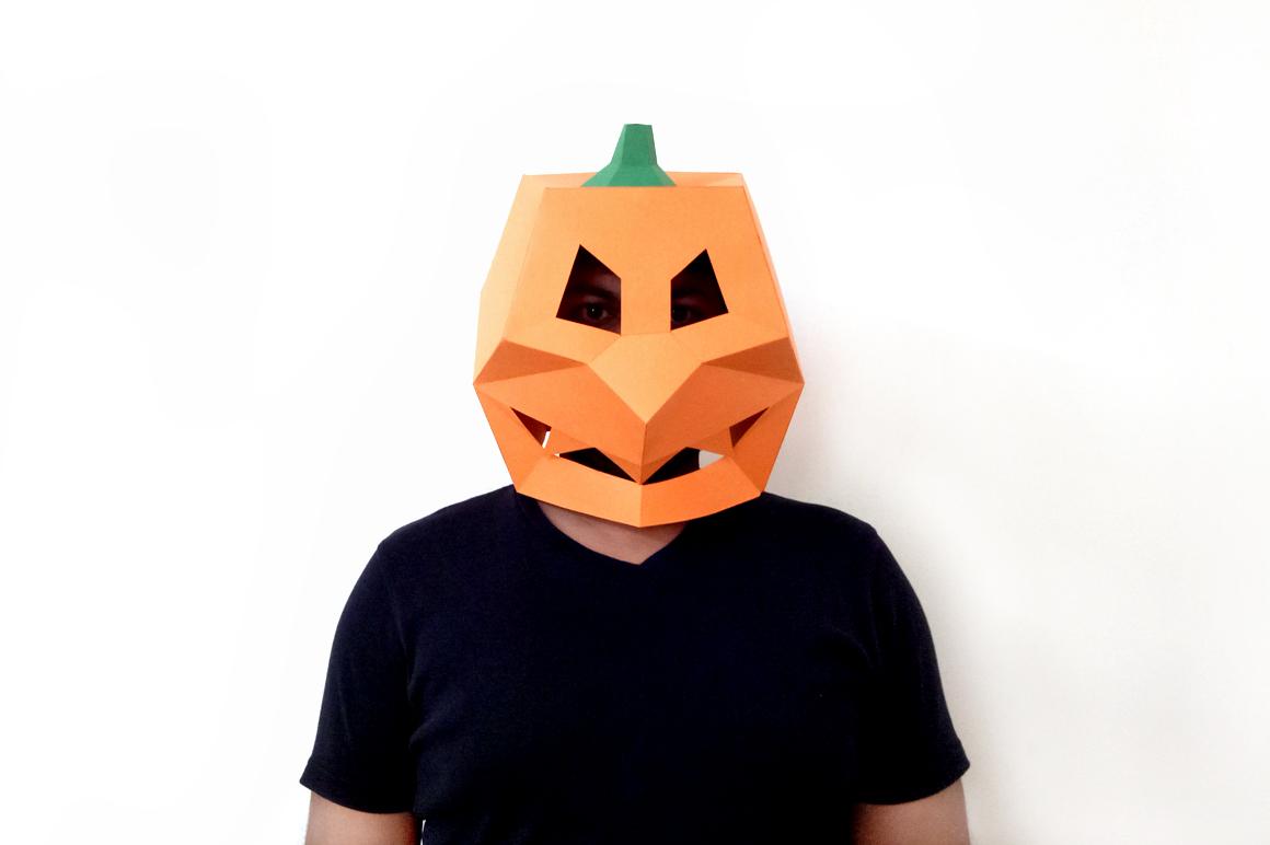 DIY Pumpkin Mask - 3d papercraft example image 3