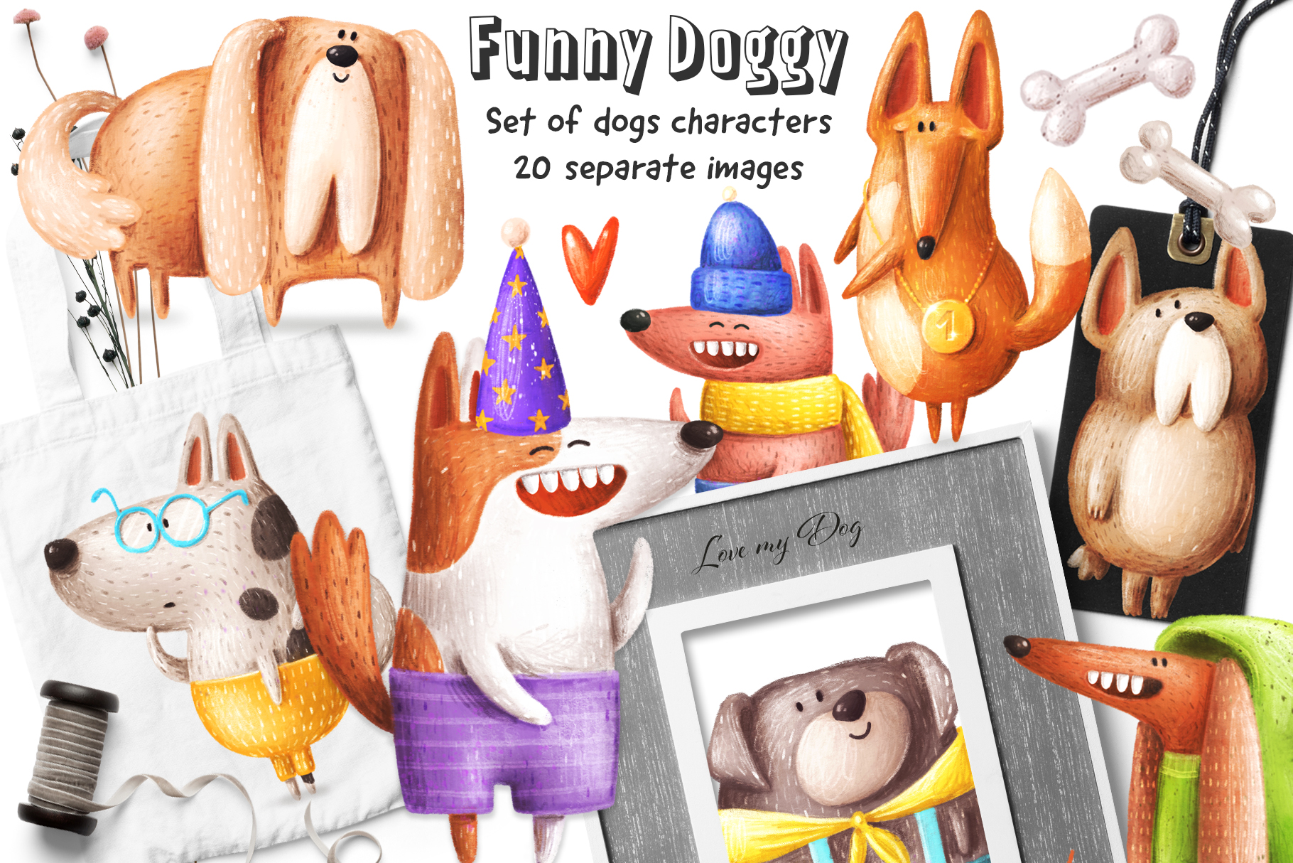 Set of funny Dogs example image 1
