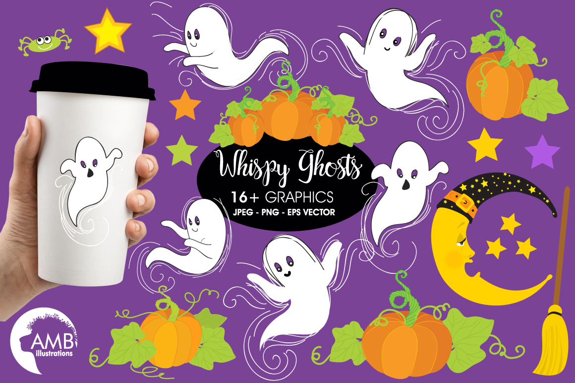 Whispy Halloween Ghosts clipart, graphics, illustrations AMB-142 example image 1