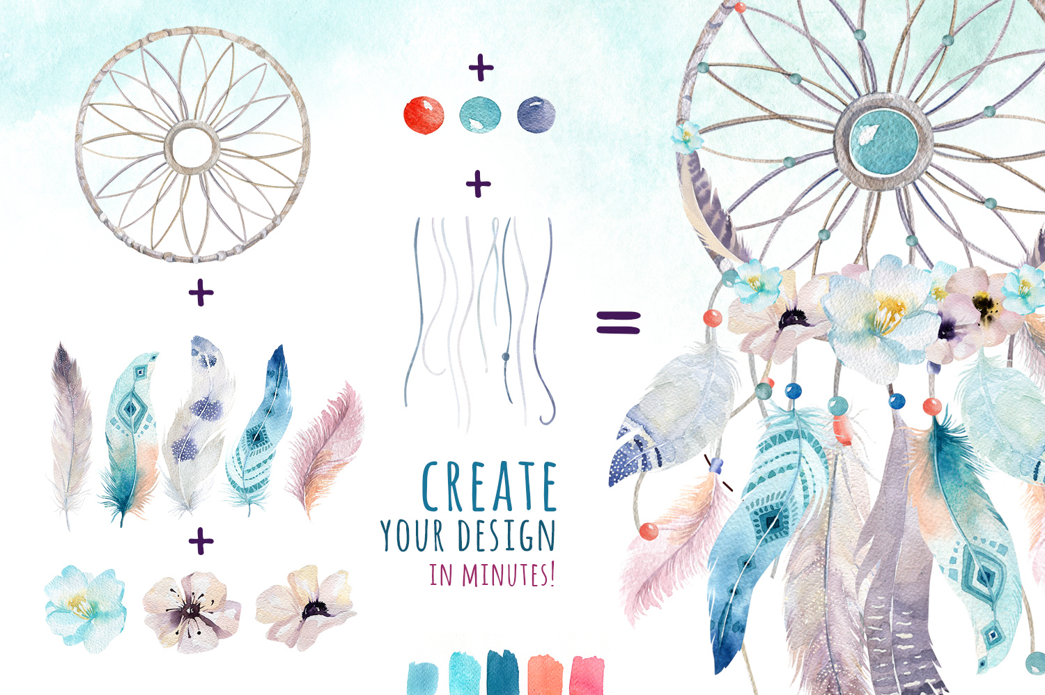30% off Watercolor dreamcatcher III example image 8