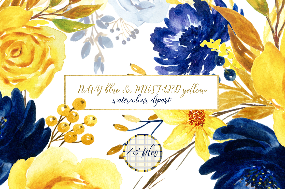Blue And Yellow Watercolor Flowers By L Design Bundles