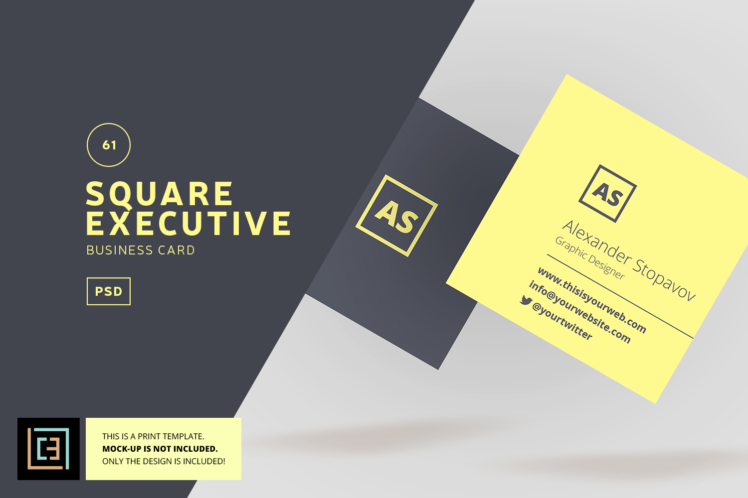 Square executive business card bc061 design bundles square executive business card bc061 example image 1 reheart Choice Image
