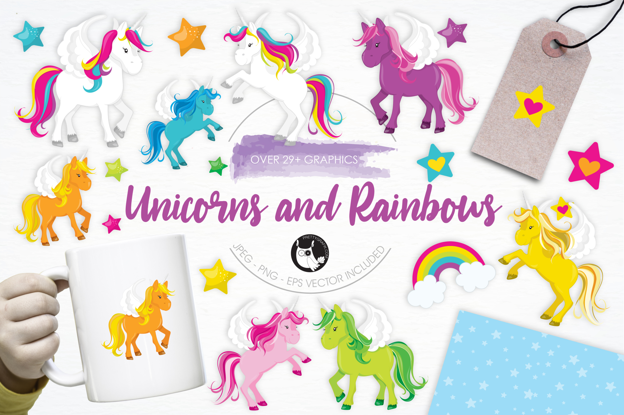 Unicorns and Rainbows graphics and illustrations example image 1