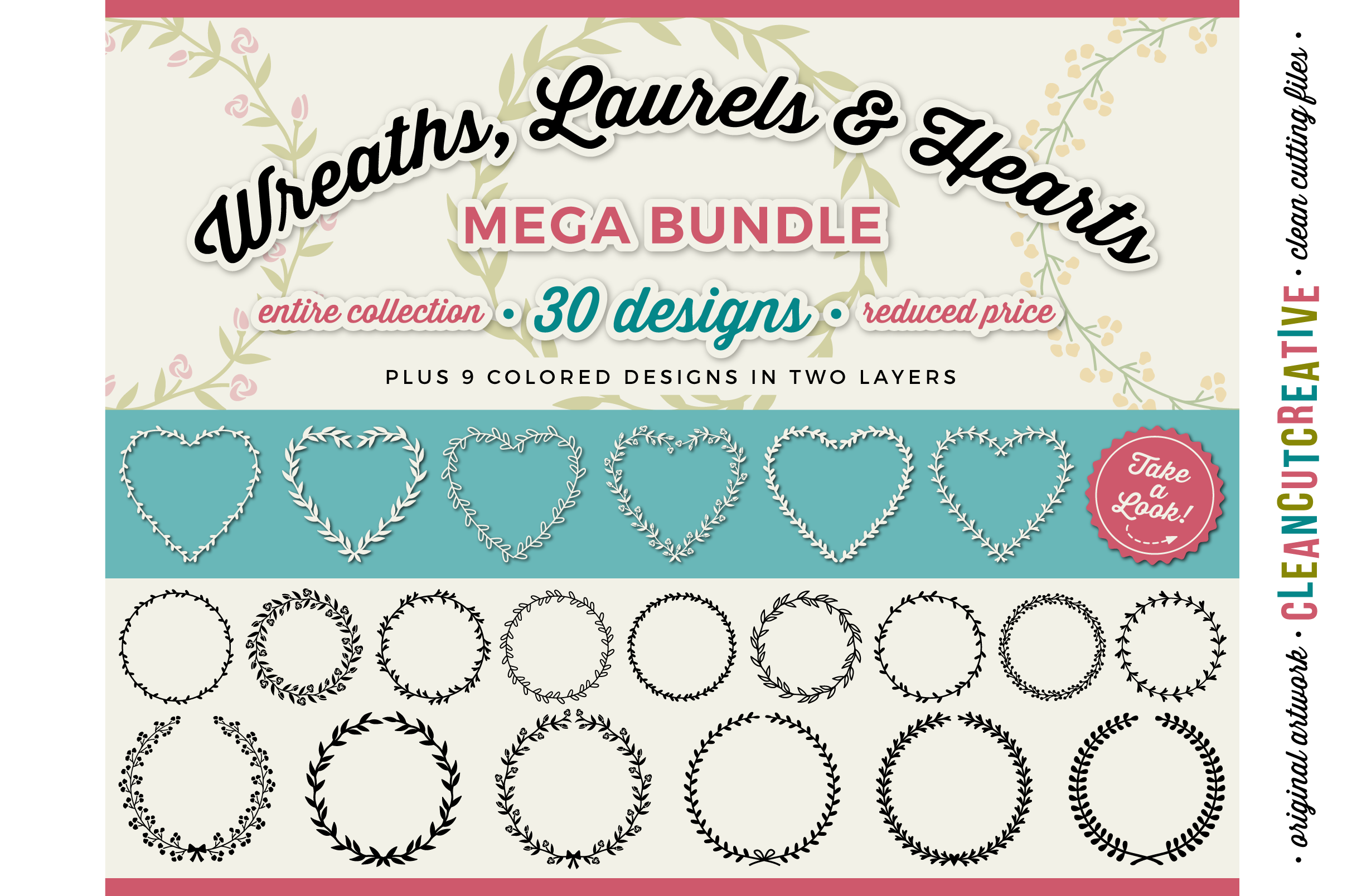 FLORAL MEGA BUNDLE 30 wreaths, laurels and hearts leaf frames - SVG DXF EPS PNG - for Cricut and Silhouette Cameo - clean cutting digital files example image 1
