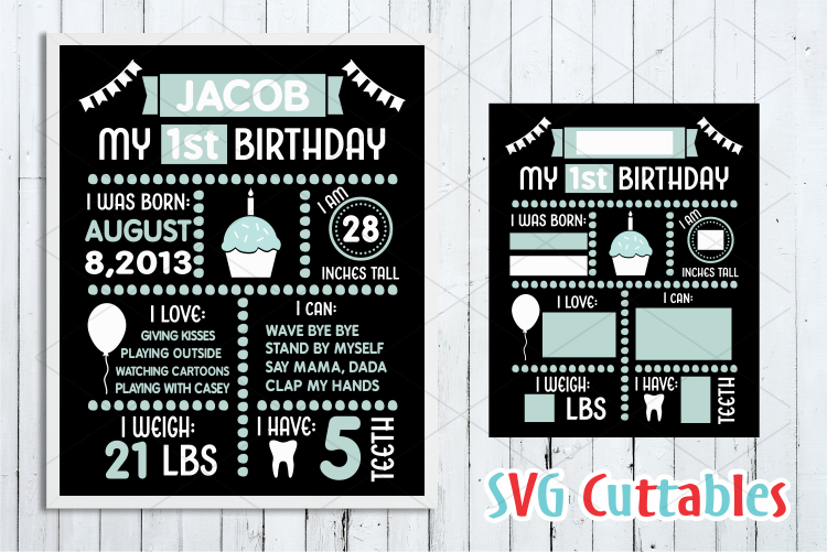 Birthday Board Cut File example image 1