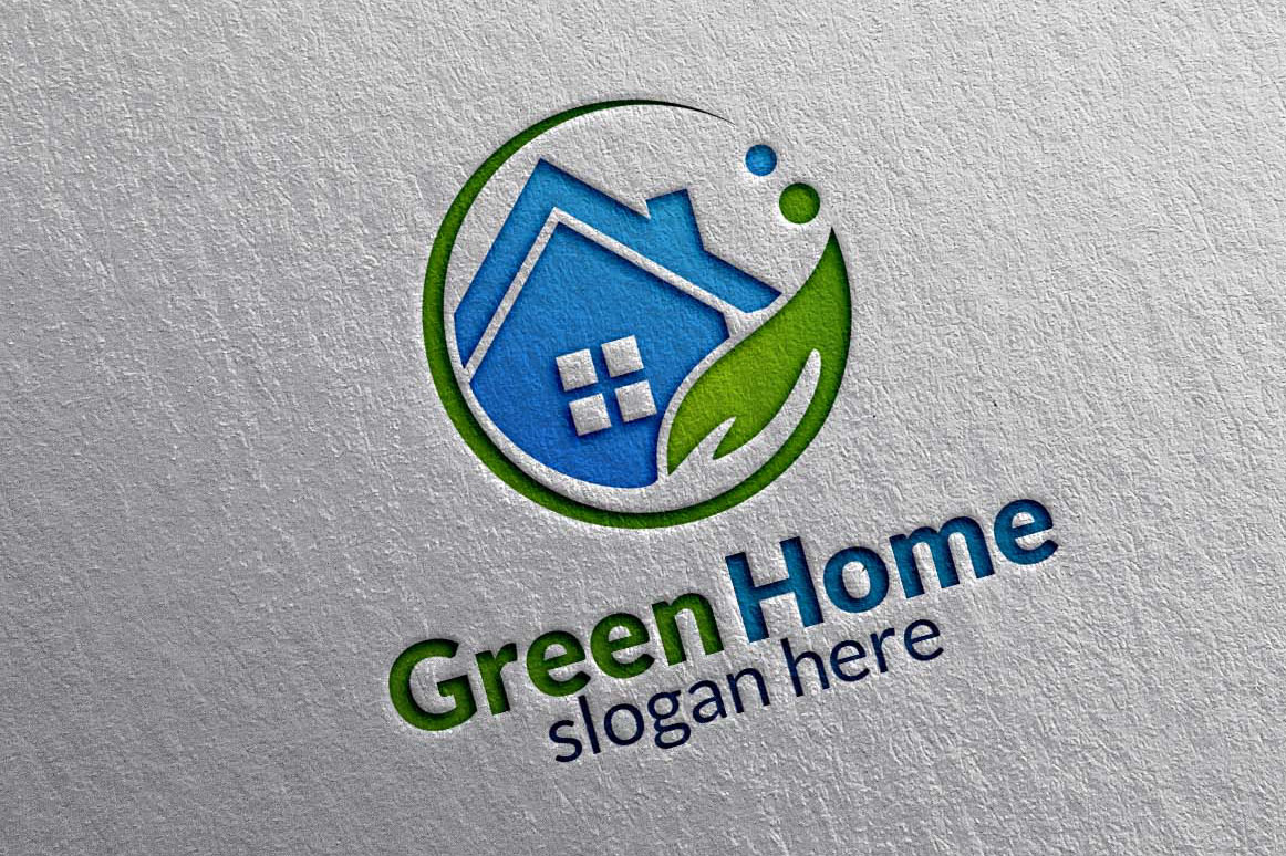 real estate logo green home logo 11 example image 1