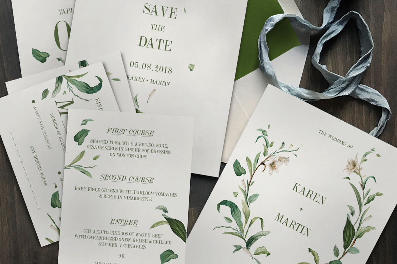Green Foliage Wedding Invitation Suite   Design Bundles