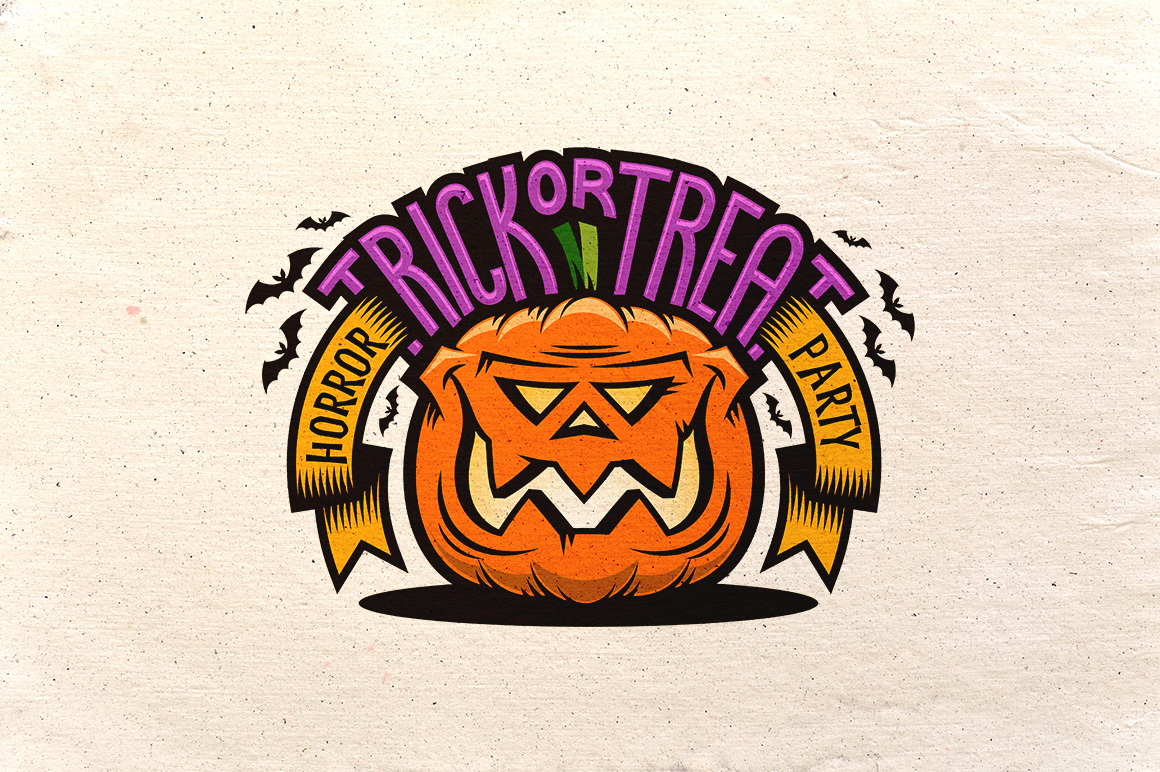 Halloween Pumking Logo Set example image 5
