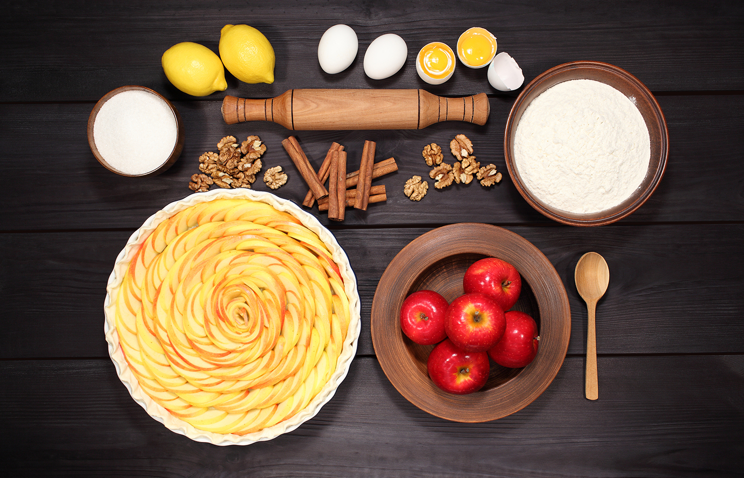 Set 12 photos Apple Pie and raw ingredients for baking. Sweet food series. Dessert. Top view example image 6