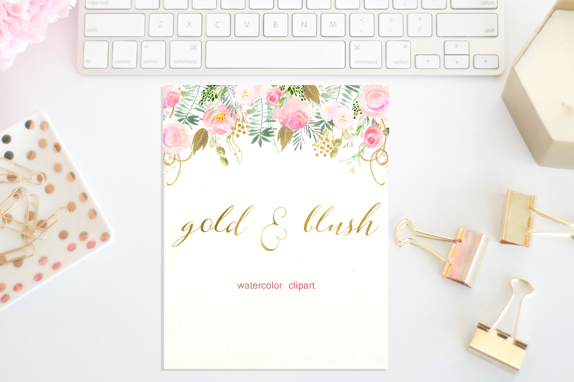 Gold & blush watercolor flowers example image 2