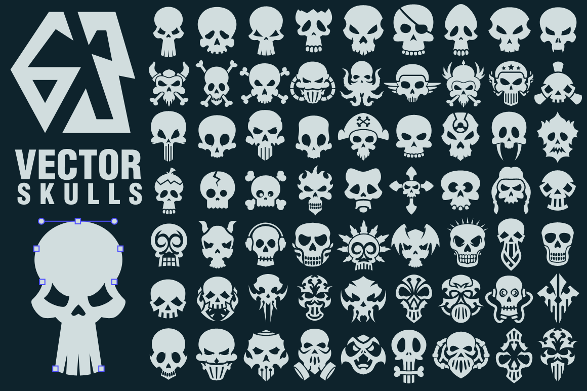 63 Vector Skulls Collection example image 1
