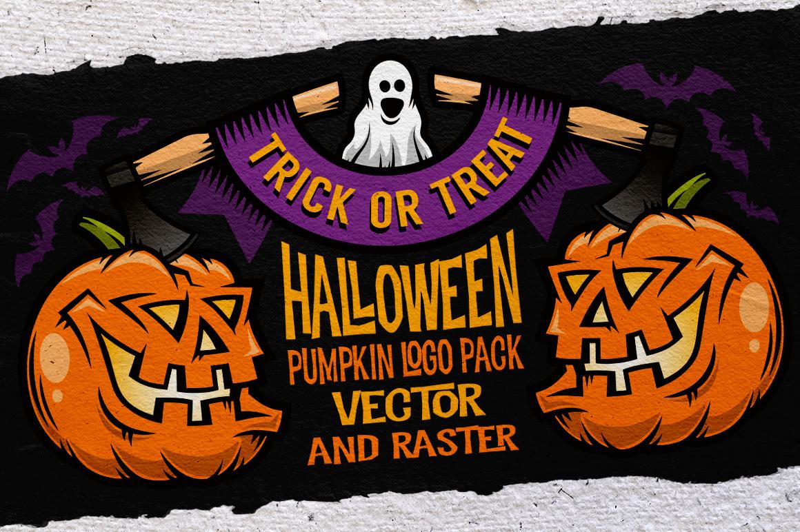 Halloween Pumking Logo Set example image 3