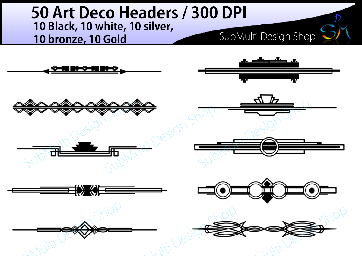 art deco high quality art deco heade design bundles rh designbundles net art deco clip art free art deco clip art free download